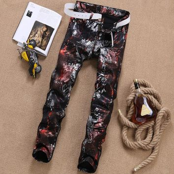 Slim Ripped Holes Men Fashion Club Jeans [10869555779]