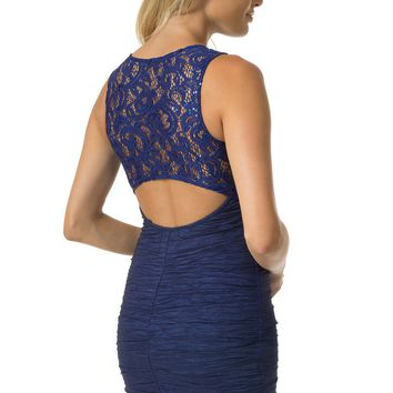 Teeze Me | Sleeveless Sequin Lace Cutout Back Taffeta Dress | Royal/Purple
