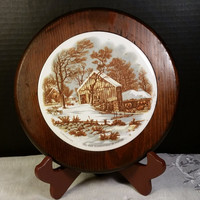 Currier and Ives Hot Plate The Old Homestead in Winter Ceramic Wood Surround Feet and Hanger Trivet Hot Plate Vintage 80s Currier & Ives
