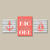 Coral Gray Nautical Bathroom Boy Girl Wall Art Canvas Artwork Anchor Sailboat Stripe Dream Big Little One Stripes Set of 3 Prints Decor
