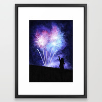 Blue and pink fireworks Framed Art Print by savousepate