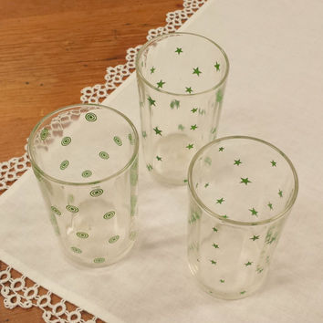 3 Vintage Juice Glasses ~ Green Stars & Circles ~ Glassware
