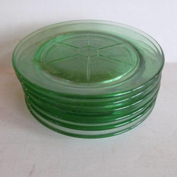 6 Green Depression Glass Coasters Depression Glass Wagon Wheel Green Uranium Glass Plates Drink Coasters Set of Green Cambridge Glass Co
