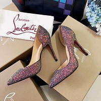 CHRISTIAN LOUBOUTIN 2018 new glitter sequin pointed high heels F-RCSTXC