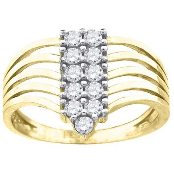 Round Cut CZ Fashion Right Hand Ring in 10k Yellow Gold