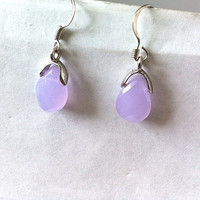Small dainty lavender quartz teardrop dangle earrings, gifts for her, gifts for girls, purple earrings, simple jewelry