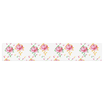 "Laura Escalante ""Cross Stitch Flowers"" White Pink Table Runner"