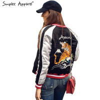 Simplee Apparel Satin embroidery bomber jacket women Black blue tiger eagle souvenir jacket coat Casaul baseball jacket sukajan