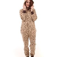 Funzee Non Footed Pajamas, One Piece Pajama Set, Leopard Spot Print, Size XS-XL (XLarge (for Height around 6ft 1))