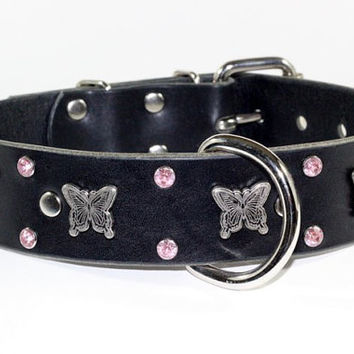 "Butterfly Leather Dog Collar - 1-1/2"" Butterfly Leather Dog Collar - Pink Crystal Leather Dog Collar"