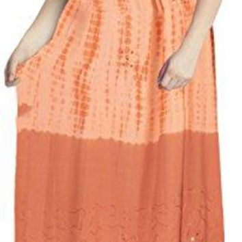 La Leela Rayon Tie Dye Casual Strapless Tank Cover up OSFM 1422 L3X Orange6200