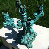 Vintage revived wood candelabra
