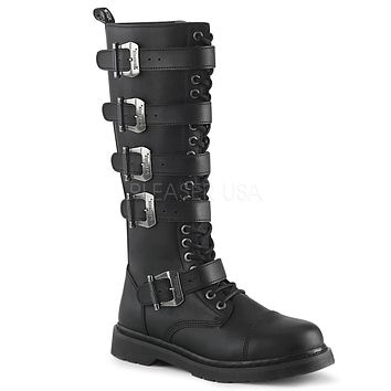 Bolt 425 Goth Buckle Strap Combat Biker Knee Boots Black Matte Men Sizes 4-14