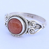 Gold Stone Ring 925 Solid Sterling Silver Ring Gold Stone Ring Size US 4 5 6 7 8 9 10 11 12 Gift Idea Ring