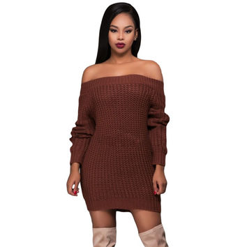 Long Sleeve Sexy Off Shoulder Sweater Dress