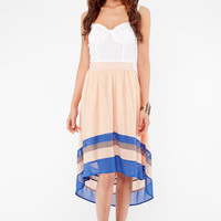 To Infinity Hi Low Skirt in Peach and Blue :: tobi
