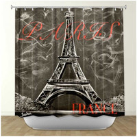 DiaNoche Designs L'amour a Paris Sepia by Teshia Fabric Shower Curtain