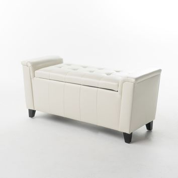 James Off-White Tufted Leather Armed Storage Ottoman Bench