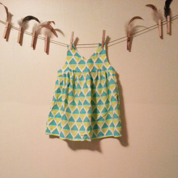 Green Pineapple Popsicles For you and for Me Vintage Toddler Sundress Fits Size 12 months to 18 months