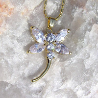 White Crystal Dragonfly Pendant - Vintage