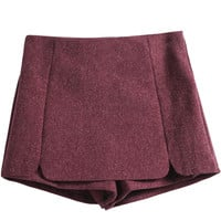 Red Zipper Woolen Split Shorts - Sheinside.com