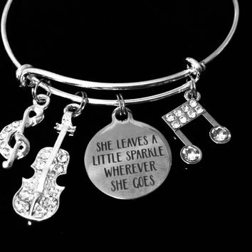 She Leaves a Little Sparkle Wherever She Goes Adjustable Bracelet Music Notes Expandable Silver Charm Wire Bangle Trendy One Size Fits All Jewelry