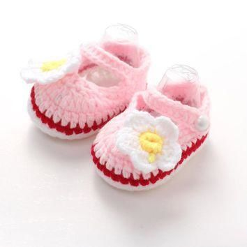 2017 Spring Handmade Baby Shoes, Newborn Flower Crib Crochet Casual Baby Girls Knit In