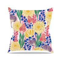 "Amy Reber ""Pretty Bouquet"" Yellow Floral Outdoor Throw Pillow"