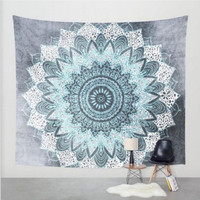Light Blue Mandala Tapestry