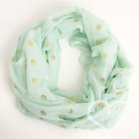 Polka Dot Scarf - Mint with Gold