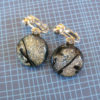 Silver Clip On Earrings, Dangle Clip On Earrings, Dichroic Ear Clips, Clip On Jewelry - Riley - 1804 -3