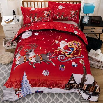 Christmas duvet cover 3dDigital printing bedding sets comforter bedsheet Pillowcase queen king size  Bedlinen  4pcs