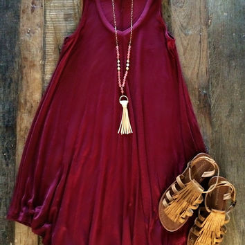 Shaw Dress - Burgundy