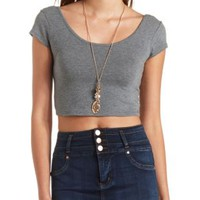 Double Scoop Short Sleeve Crop Top by Charlotte Russe