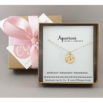 Aquarius Zodiac Necklace - Constellation Necklace - Gold Fill Necklace - Simple Jewelry - Astrology Necklace - Gold Jewelry - Gift for Her