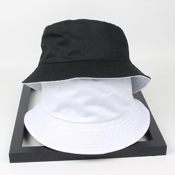 Two side reversible black white solid Bucket Hat unisex chapeau fashion fishing hiking hat Bob Caps women men panama hat summer
