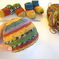 Thin wool striped baby hat, choose your size, newborn or 2-6 month old babies, matching socks available