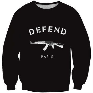 New Women Hoodies Harajuku Style Sweatshirts 3D Pullovers Women's Defend Machine Gun Sportswear Tracksuits = 1945768644
