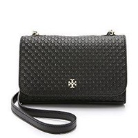 Tory Burch Women's Marion Embossed Shrunken Bag, Black, One Size