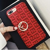 FENDI Classic Fashionable Leather Card Mobile Phone Cover Case For iphone 6 6s 6plus 6s-plus 7 7plus 8 8plus X Red