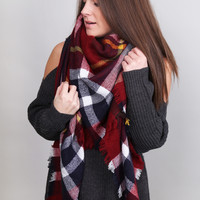 Holiday Plaid Blanket Scarf {Burgundy/Mustard}