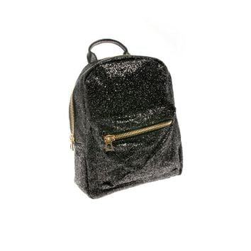 Mini Glitter Backpack in Black