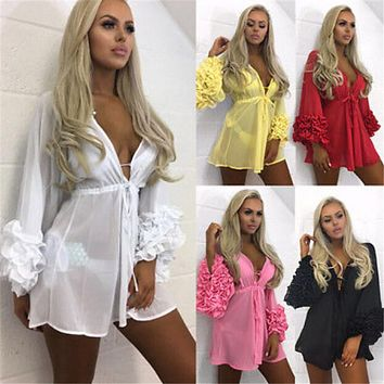 Women Sexy Beach Cover-up Long Puff Sleeve Covers up Bathing Suit Summer Beach Wear Pareo Swimwear Mesh Beach Dress Tunic Robe