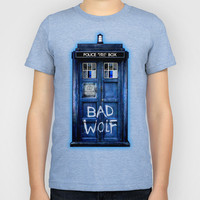 Tardis doctor who with Bad wolf graffiti Kids T-Shirt by Three Second