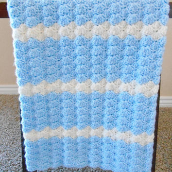 Crochet Baby Blanket for Boys - Baby Shower Gift for Boys - Crochet Baby Afghan - Crochet Stroller Blanket - Blue Crochet Blanket