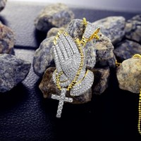Iced Out 2-Tone Praying Hands Pendant