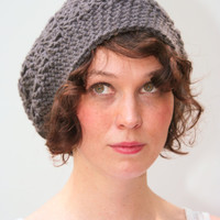 Crochet Hat Slouchy Beanie Hat Textured HDC Charcoal Gray