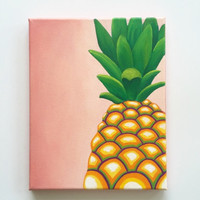 Pineapple decor, colorful wall art, tropical art, pineapple art, original painting, dorm decor, kitchen decor, fruit art, 8 x 10