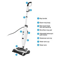 INLIFE Steam Mop and Sweeper Cleaner All-in-One with 2 Mop Pads