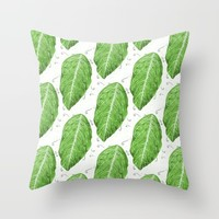 Swirly Green Leaf Pattern Throw Pillow by borianagiormova